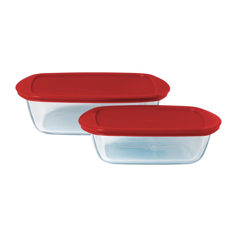 Pyrex ovenschaal - rood - set van 2
