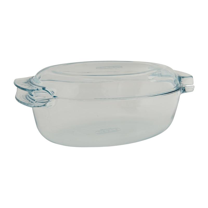 Pyrex ovale schotel met deksel glas 4.5L