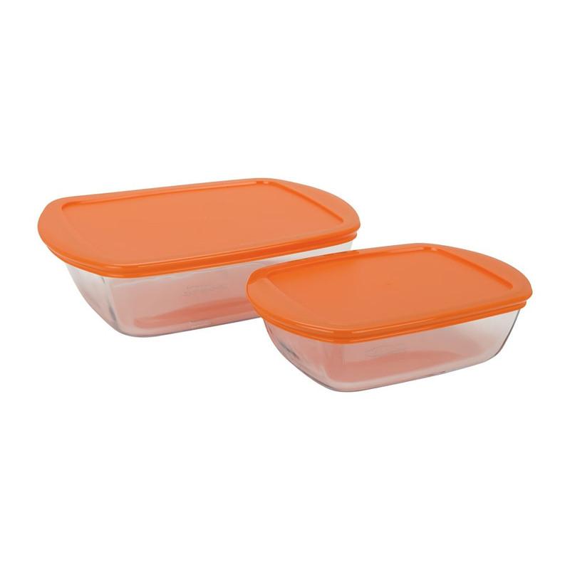 Pyrexschaal oranje - set van 2