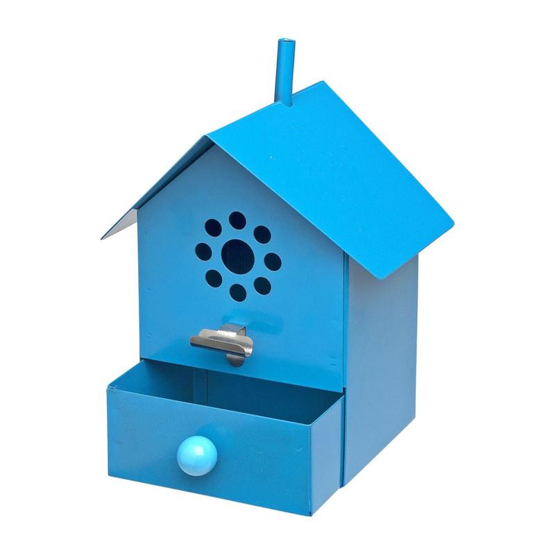 Vogelhuisje asbak blauw