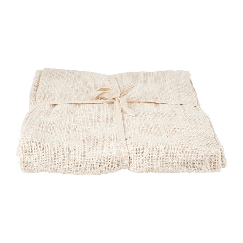 Plaid geweven - franjes - naturel - 130x150 cm
