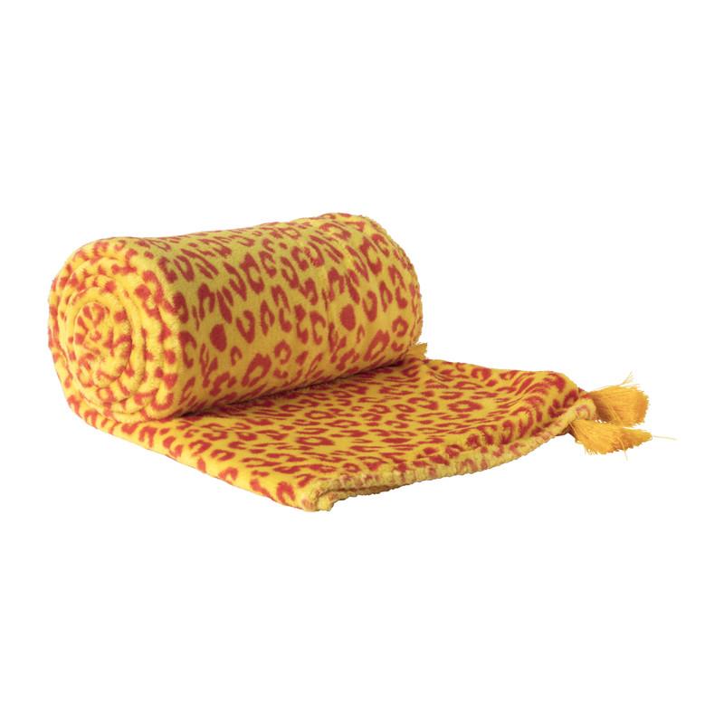 Plaid luipaard - geel/rood - 130x170 cm