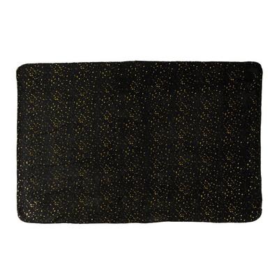 Plaid soft - zwart/goudkleurig - 130x170 cm