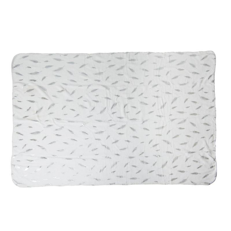 Plaid soft - veren zilver - 170x130 cm
