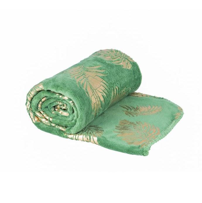 Zacht plaid met bladdessin - groen met blad goud - 130x170 cm