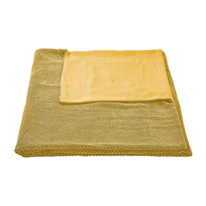 Plaid blokje - geel - 130x160 cm