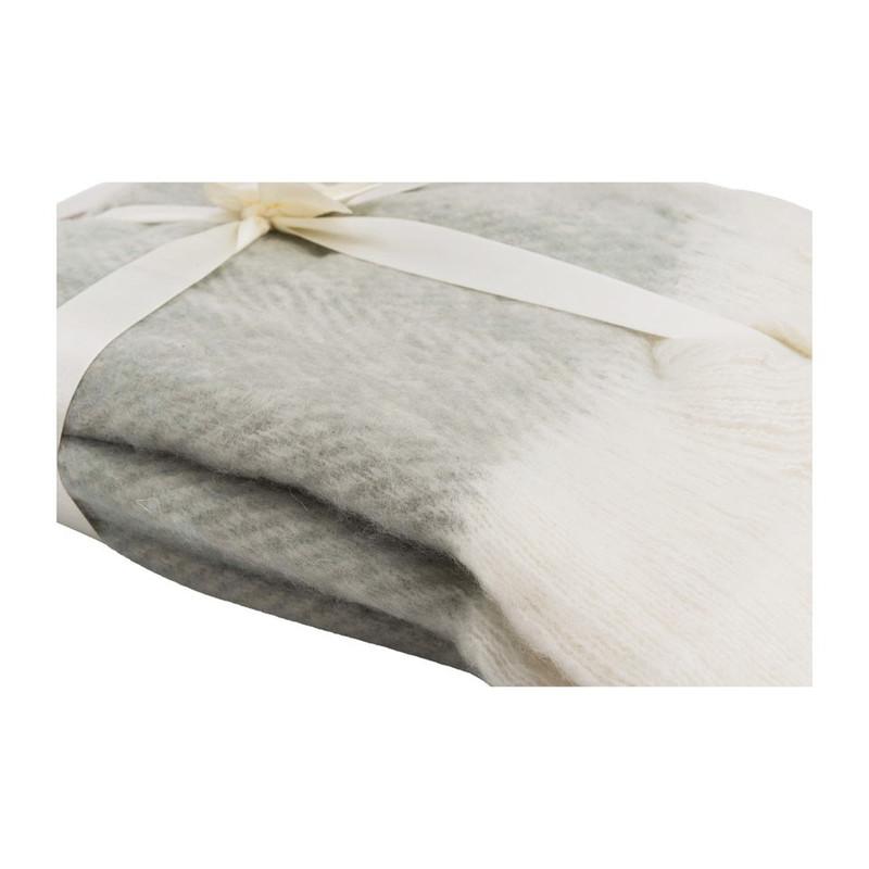 Plaid visgraat - grijs/wit - 130x160 cm