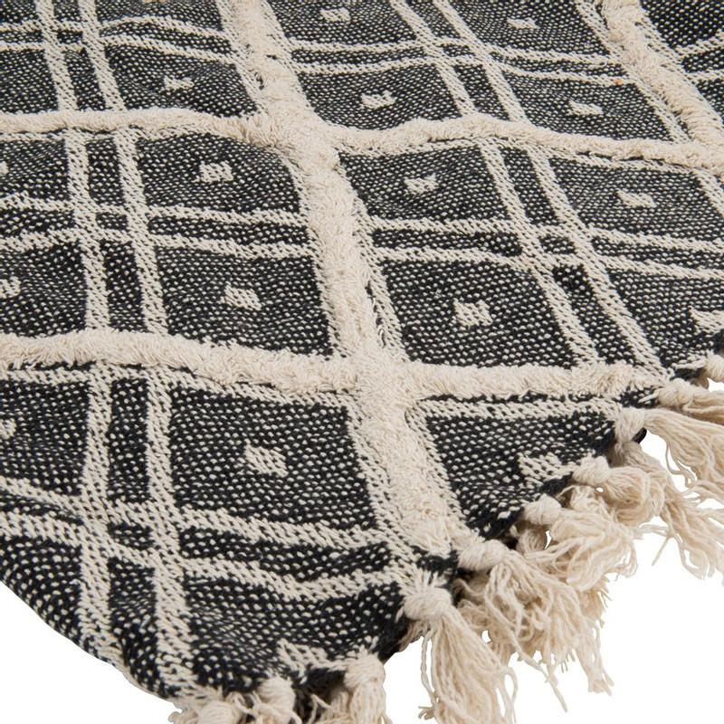 Plaid geweven ruitpatroon 150x125 cm - ecru/zwart