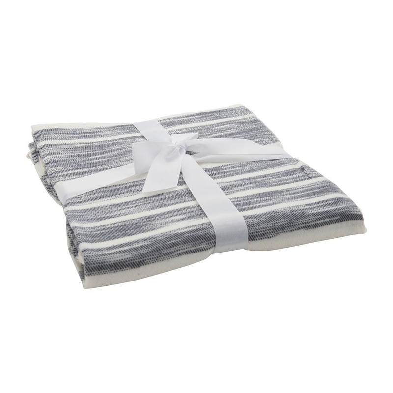 Plaid gestreept - wit/grijs - 130x170 cm