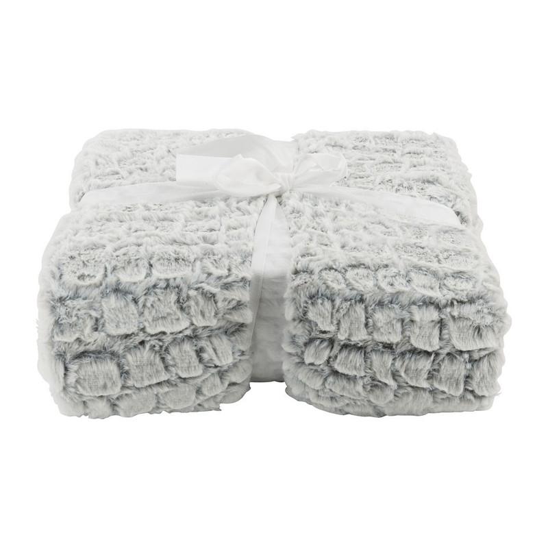 Plaid dierenvacht - 130x160 cm - wit/grijs