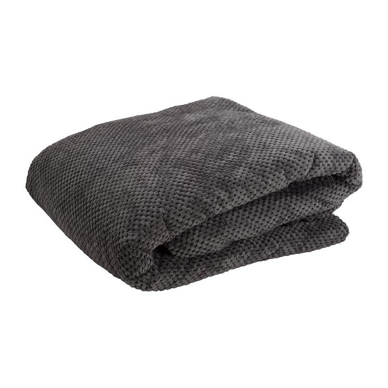 Plaid blokje - donkergrijs - 200x240 cm
