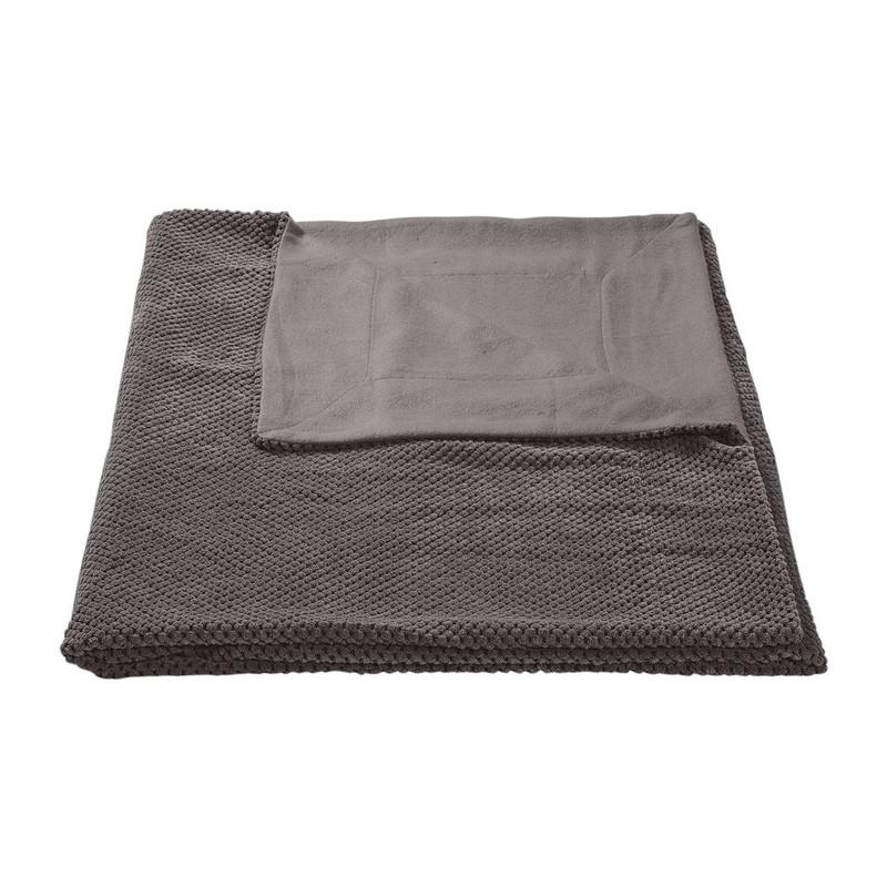 Plaid blokje - donkergrijs - 130x160 cm