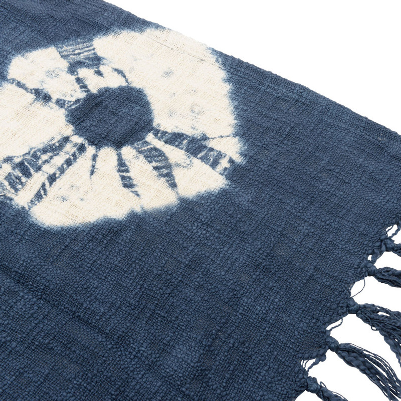 Plaid Shibori cirkel - blauw/wit - 160x130 cm