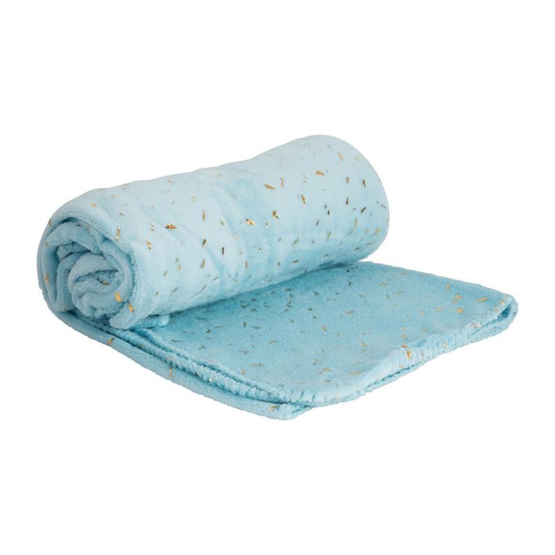 Plaid soft - blauw/goudkleurig - 130x170 cm