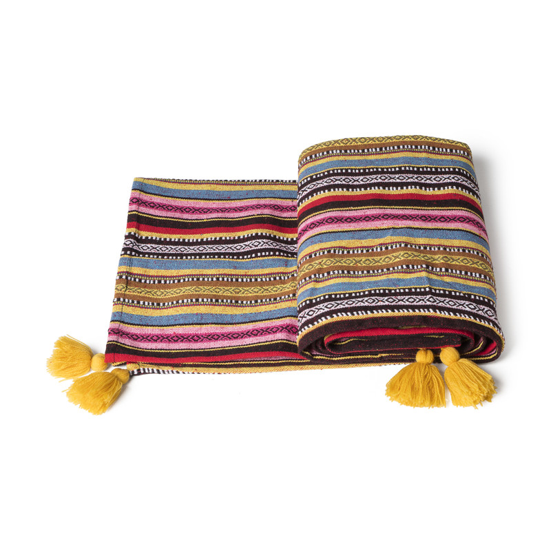 Plaid Mexican tassel - multikleur - 130x160 cm