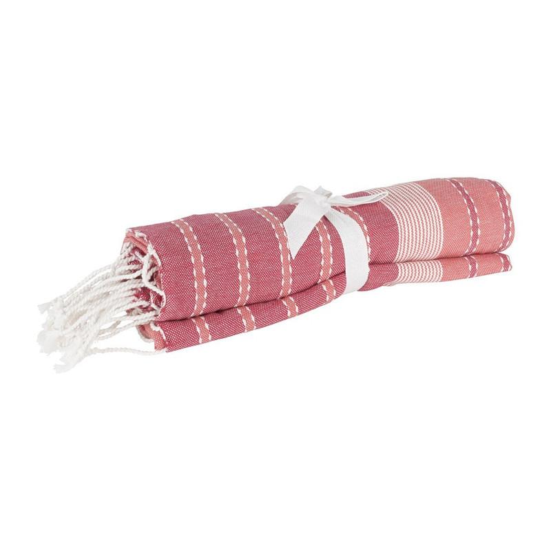 Hamamdoek streep – rood – 180x100 cm