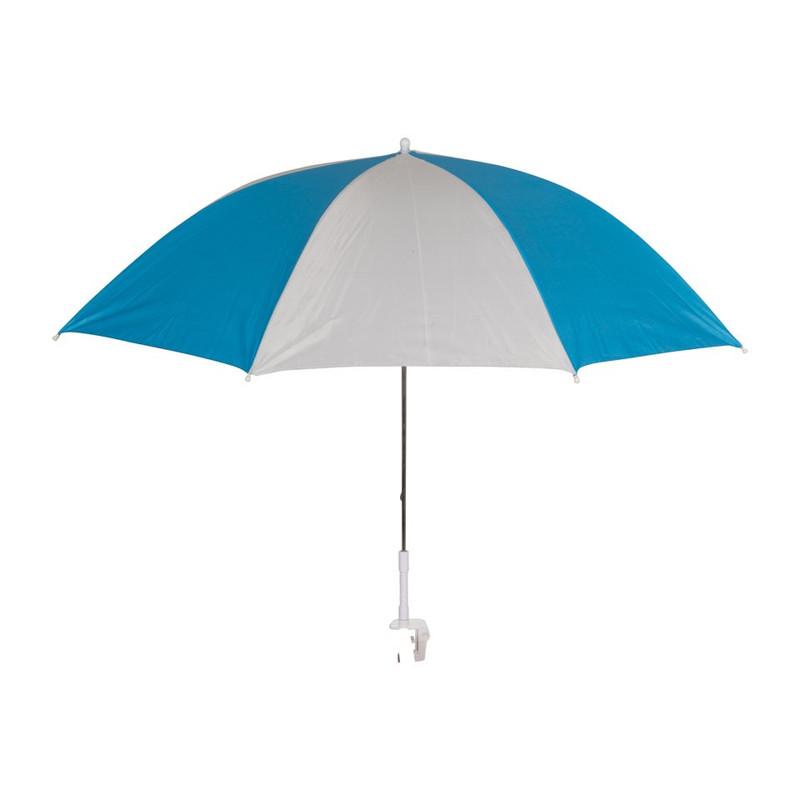 Parasol + klem - 95x85 cm - blauw/zilver