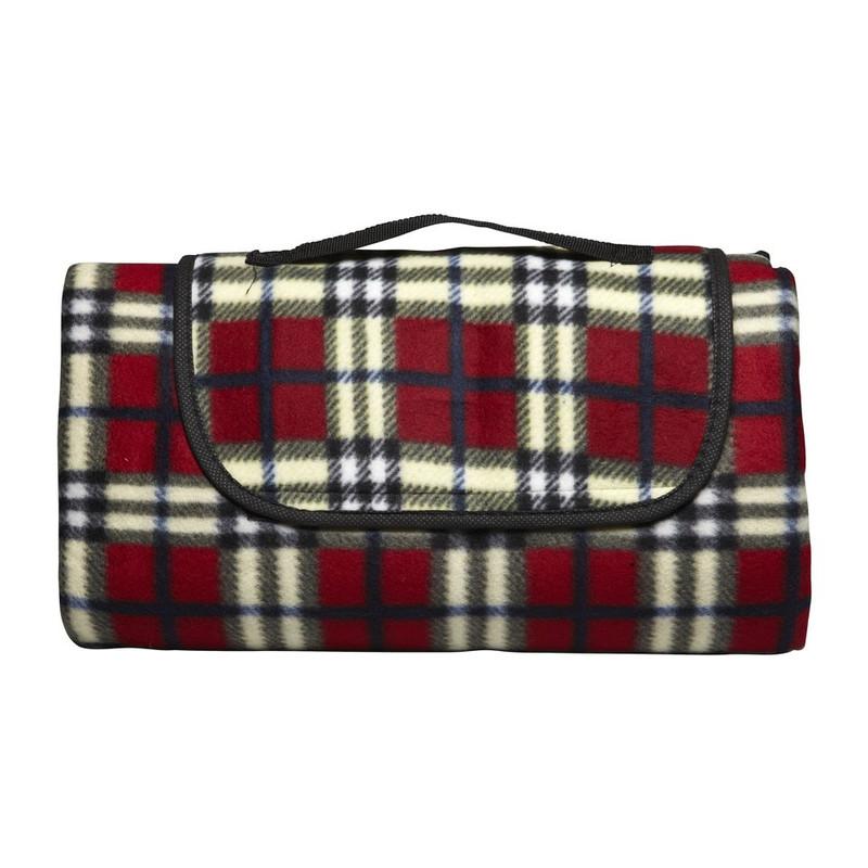 Strand/picknick plaid geruit - donkerrood