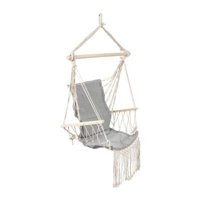 Hangstoel met franjes - grijs - 90x95x50 cm