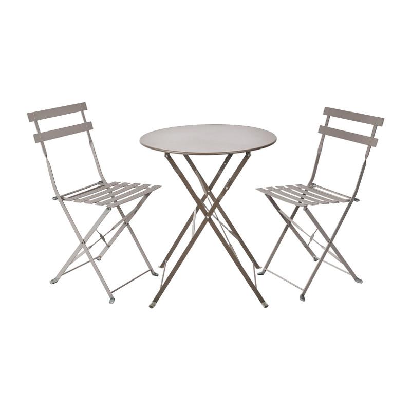 Bistroset tafel + 2 stoelen - grijs -⌀59x70 | 41x44x81 cm