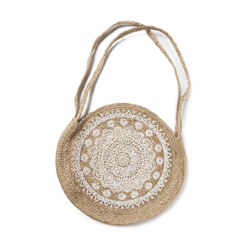 Jute tas rond - mandala - ⌀40 cm
