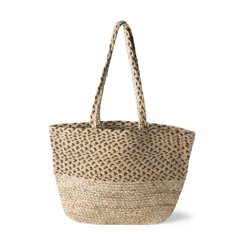 Jute tas stippen - naturel/zwart - 35x50 cm