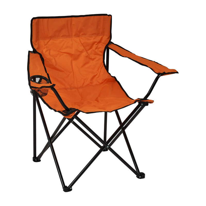 Canvas kinderstoel met armleuning - oranje - 39x39x65 cm