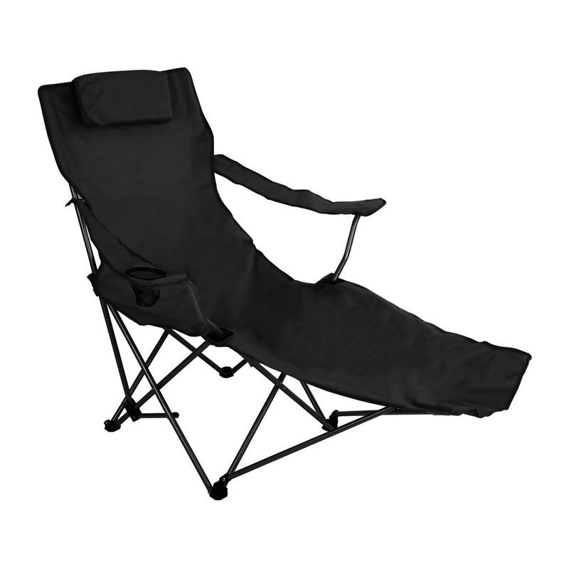 Canvas stoel met voetensteun - zwart
