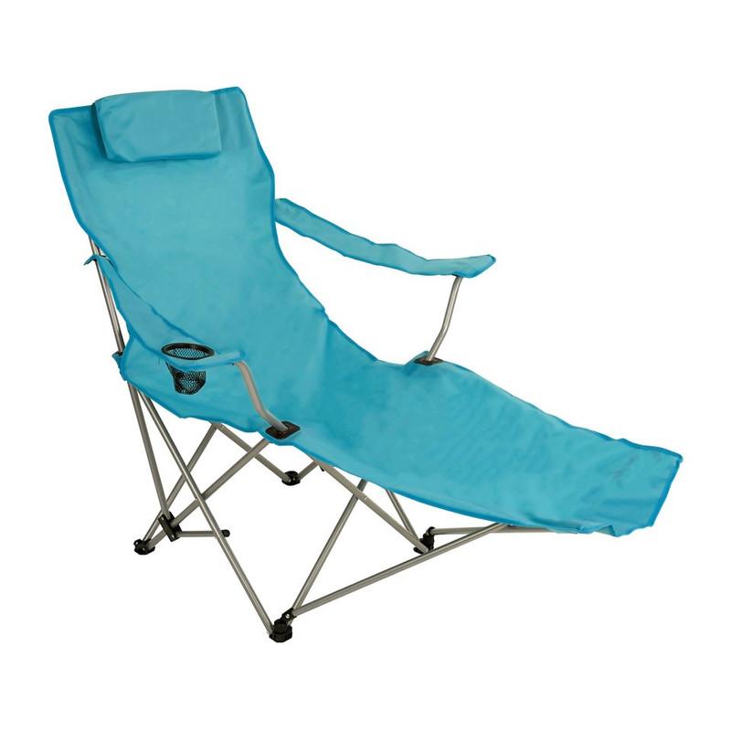 Canvas stoel met voetensteun - blauw
