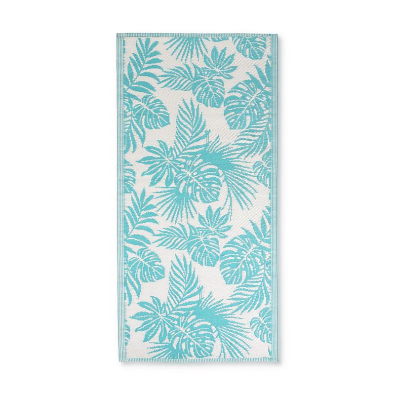 Strandmatje leaves - turquoise - 90x180 cm