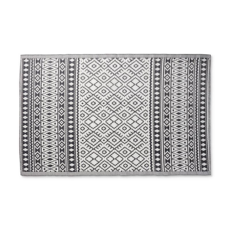 Buitenkleed ethnic - zwart/wit - 120x180 cm