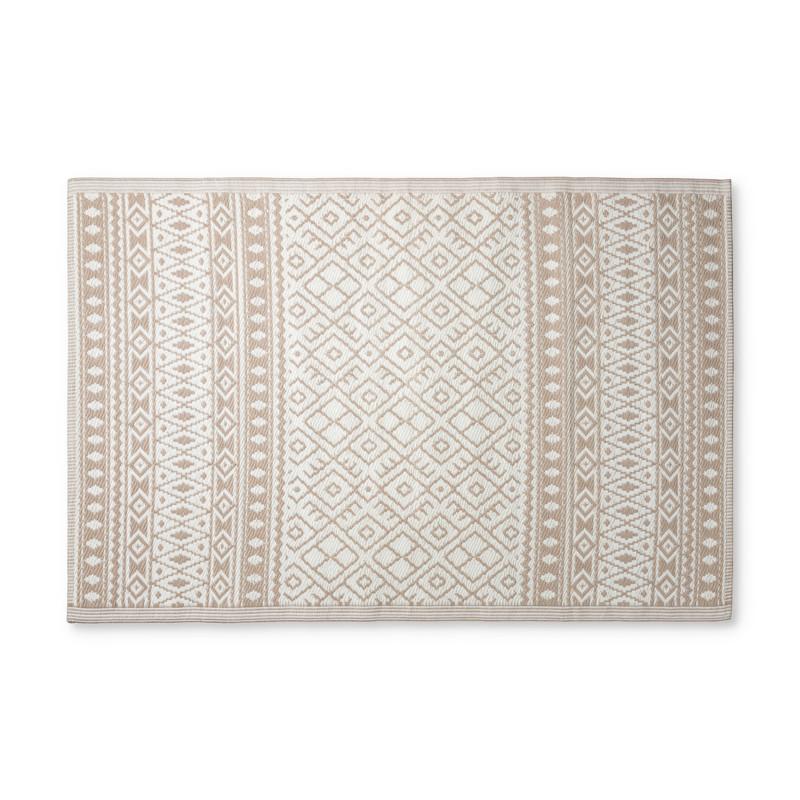 Buitenkleed ethnic - beige/wit - 120x180 cm