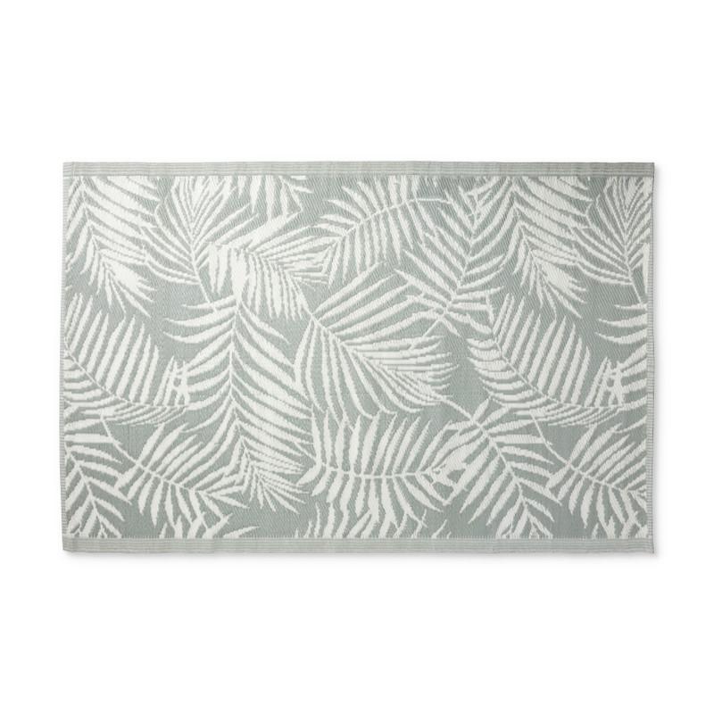Buitenkleed leaves - grijsgroen/wit - 120x180 cm