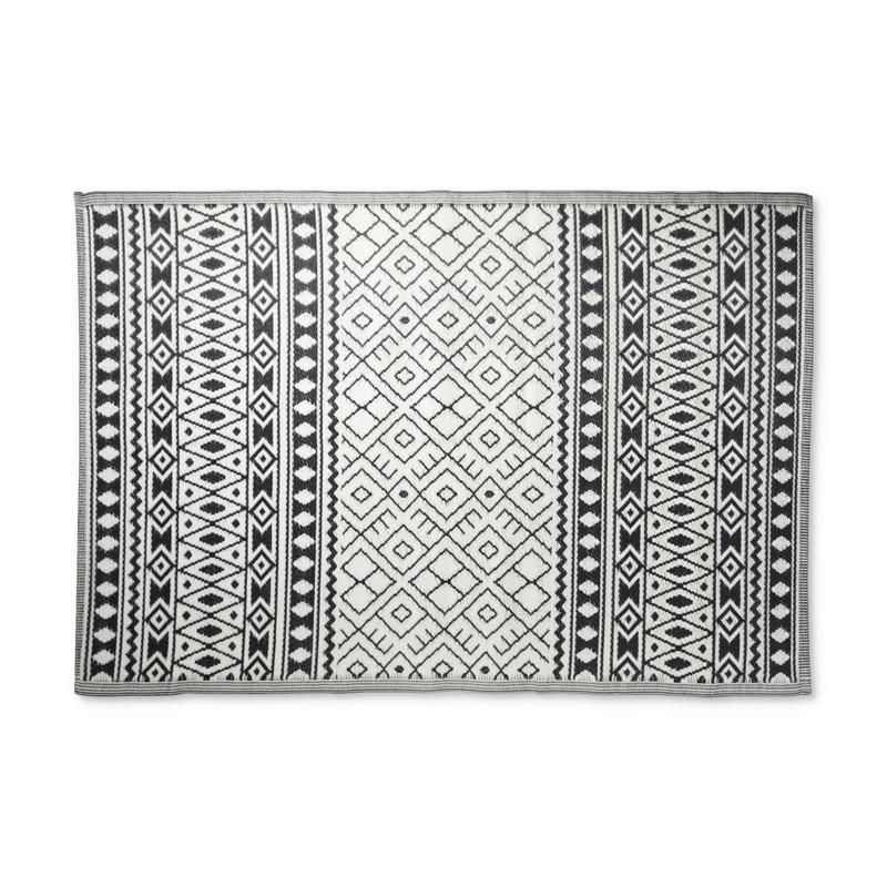 Buitenkleed ethnic - zwart/wit - 160x230 cm