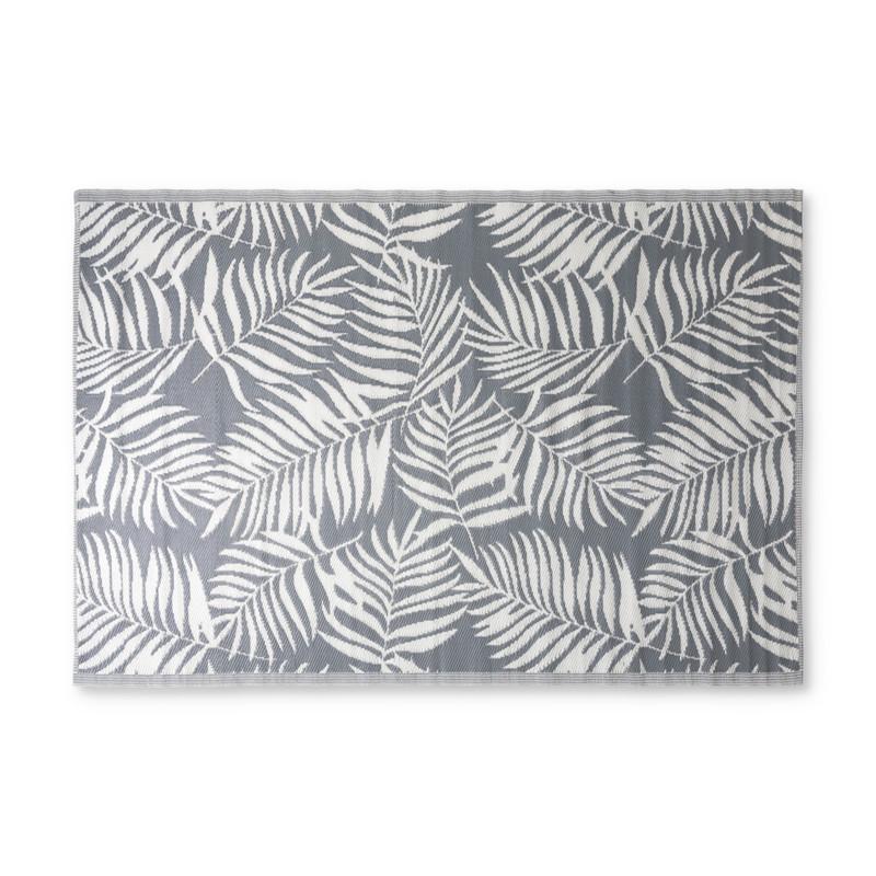 Buitenkleed leaves - grijsgroen/wit - 160x230 cm