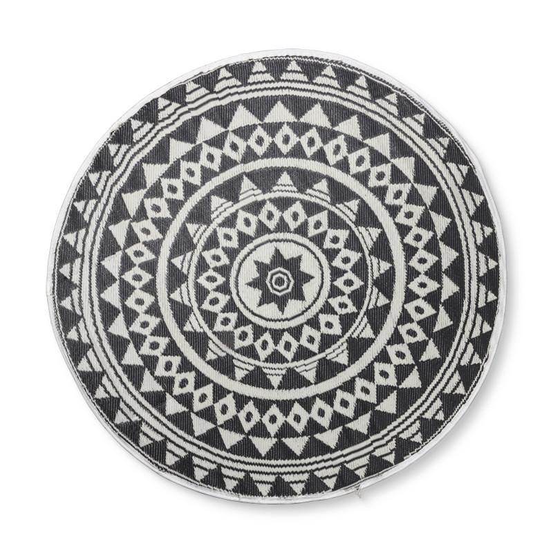 Buitenkleed mandala - zwart/wit - 150 cm