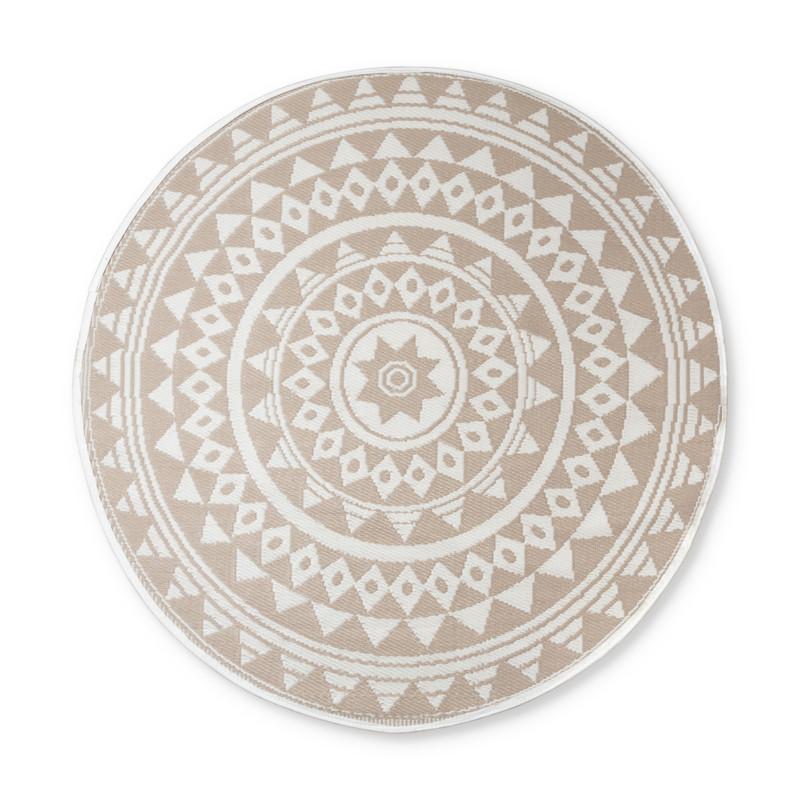 Buitenkleed mandala - beige/wit - 180 cm
