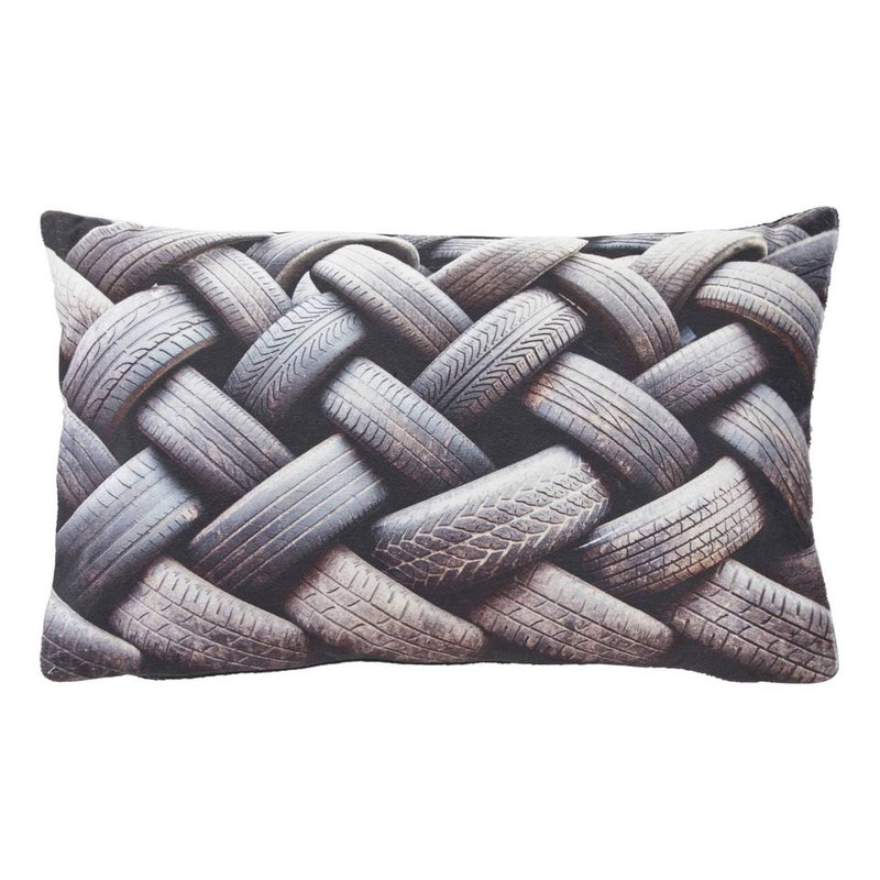 Dutch Decor kussen Tyres - zwart - 30x50 cm