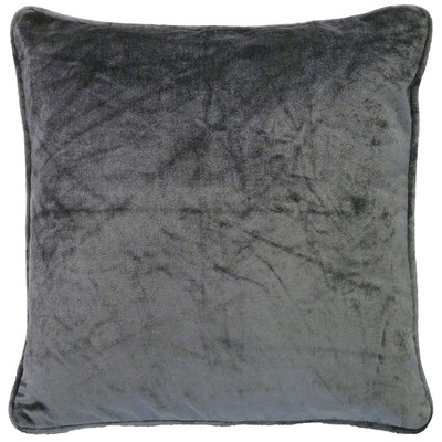 Dutch Decor kussen fluweel - donker grijs - 45x45 cm