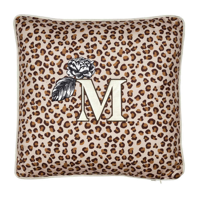 Kussen M luipaard - bruin - 45x45 cm