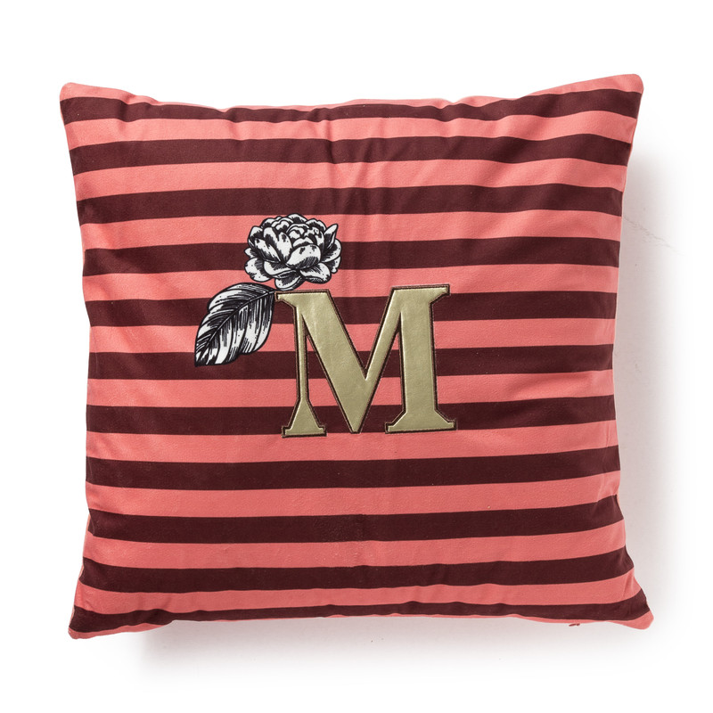 Kussen M strepen - oranje/rood - 45x45 cm