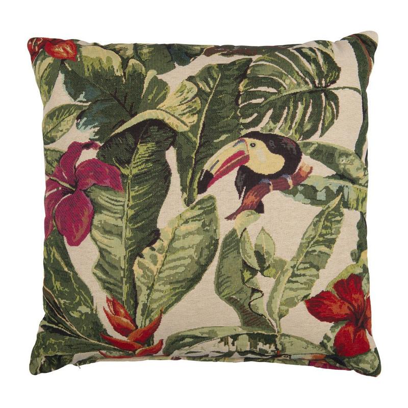 Kussen vogel design - groen - 45x45 cm