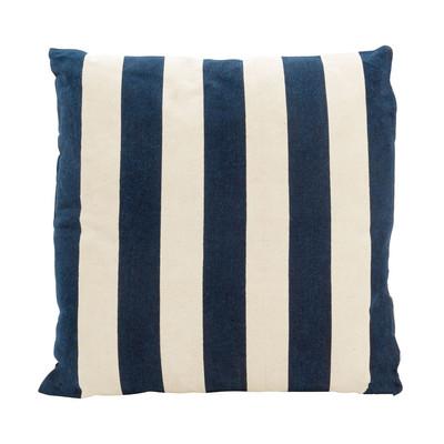 Kussen streep - blauw/wit - 45x45 cm