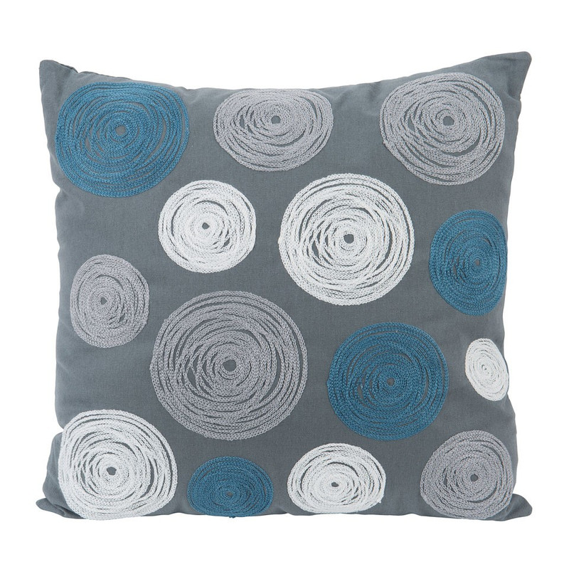 2dd92c969193d5 Kussen cirkels - grijs/blauw - 45x45 cm | Xenos