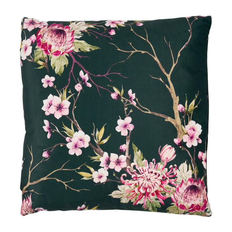 Kussen fluweel bloemen - donkergroen - 45x45 cm