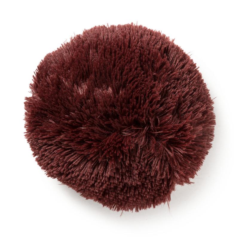 Dagaanbieding - Kussen bont - bordeauxrood - ø20cm dagelijkse koopjes