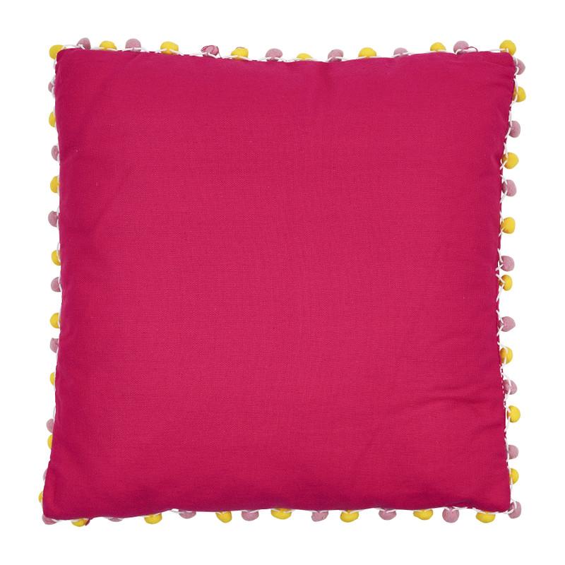 Kussen pompom - roze - 45x45 cm