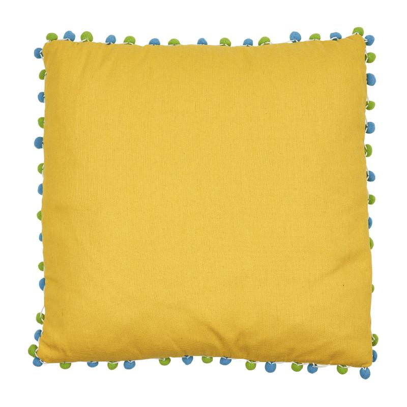 Kussen pompom - geel - 45x45 cm