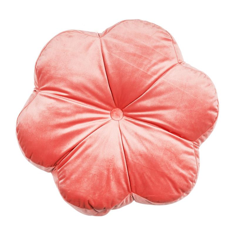 Velvet bloem kussen - roze - 45x45 cm