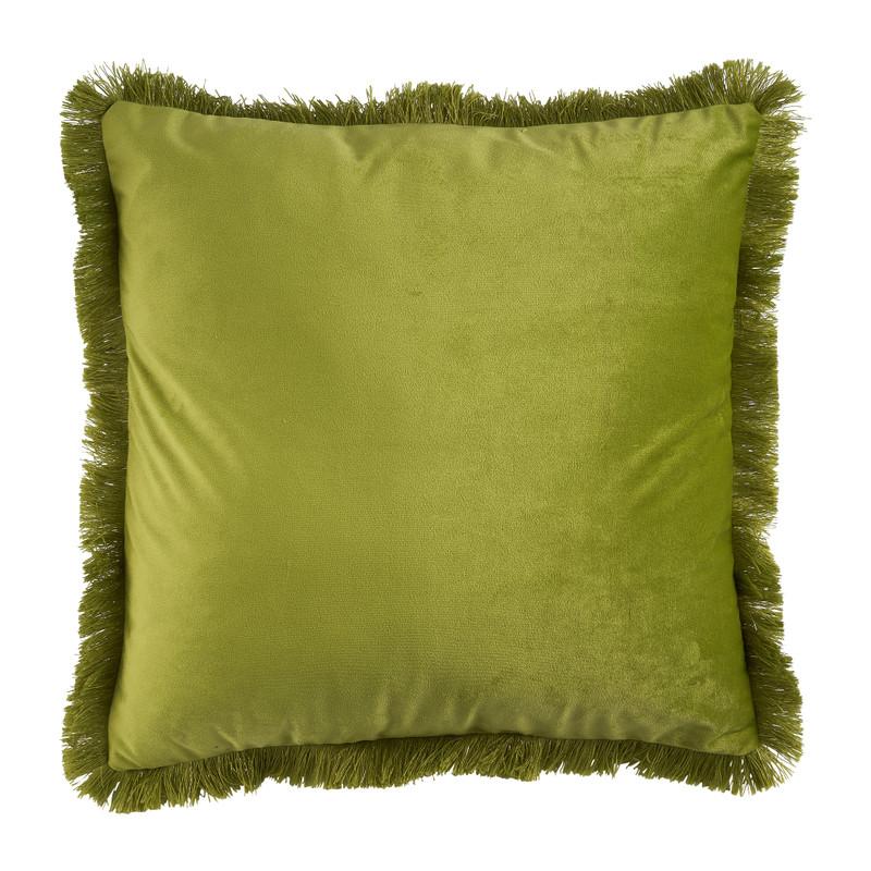 Kussen velvet met franjes - groen - 45x45 cm